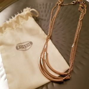 Rose gold Fossil necklace